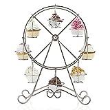 SODIAL(R) Einzigartig 8-Tasse Edelstahl?Rotierend Riesenrad Cupcake Staender Becherhalter - 5