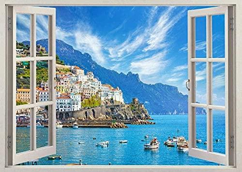 Pegatinas de pared Naturaleza lago montaña barco Costa cielo azul 3D calcomanía pared cartel vinilo S138-60x90cm