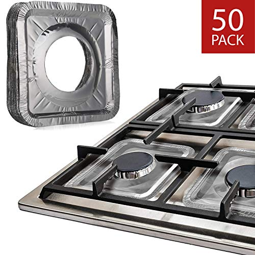 "Gas Stove Burner Liners by Linda's Essentials (50 Pack) | Disposable Aluminum Stove Burner Covers | 8.5"" Square Heat Resistant Gas Range Cover 