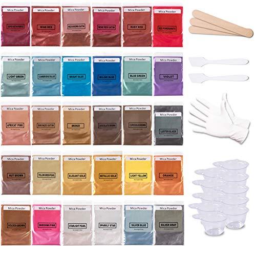 Mica-Powder-Pigment-Epoxy-Resin-Dye for Lip Gloss Base, Soap Making, Bath Bomb, Candle, 30 Cosmetic Grade Colors Glitter Colorant Kit by Startso World…
