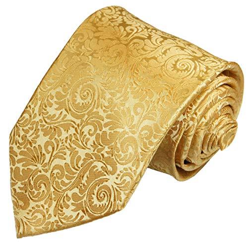 Paul Malone Krawatte gold barock Hochzeitskrawatte Bräutigam (schmale 6cm)