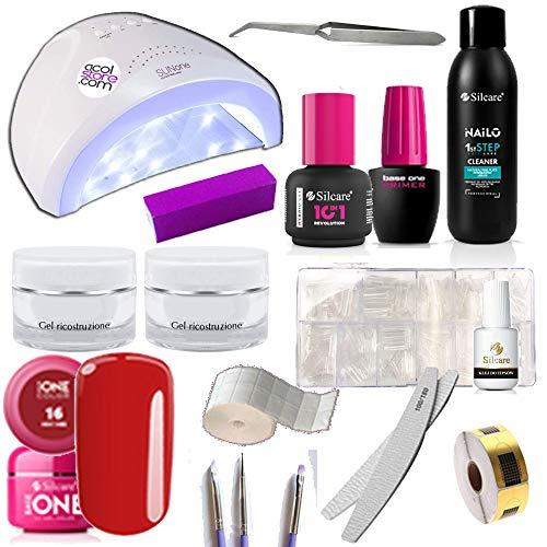 Kit Ricostruzione unghie gel con lampada, gel, french, liquidi e accessori completi