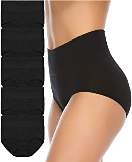 Women's High Waist Cotton Underwear Soft Brief Panties Regular and Plus Size