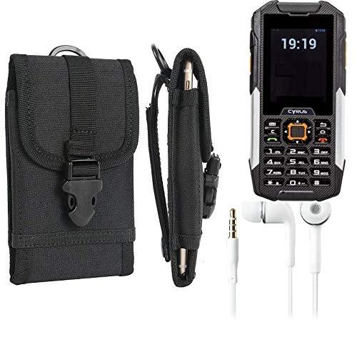K-S-Trade® Schutzhülle Für Cyrus cm 16 Gürteltasche Handyhülle Schutz Hülle Gürtel Tasche Handy Tasche Outdoor Seitentasche Schwarz 1x + Kopfhörer