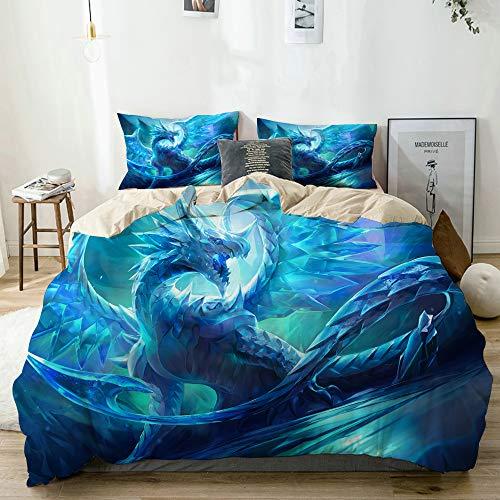 KOSALAER Bettwäsche Set,Cooler Drache,3 Teilig Bettbezüge Mikrofaser Bettbezug 135 x 200cm mit Reißverschluss und 1 Kissenbezug