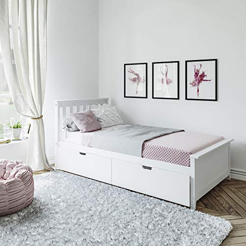 Max & Lily Solid Wood Twin-Size Bed with Under Bed Storage Drawers, White