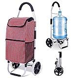 Lqgpsx Carrito de la compra en 2 ruedas plegable compacto con bolsa extraíble, resistente al agua, extra grande bolsa de comestibles con función de escalera, para jóvenes y mayores, F