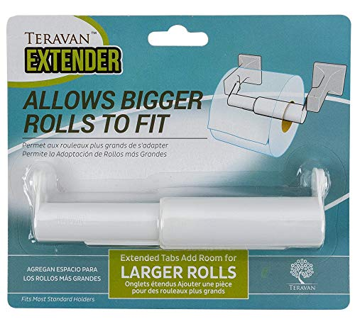 Teravan Standard Extender for Extra Large Toilet Paper Rolls | Extend The Size Of Your Tissue Paper Roll Holders | Easy Installation | Fits Most Standard Toilet Roll Holders (White)