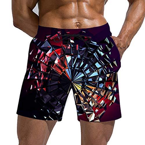 URVIP Herren Badeshose Sommer Lusting 3D Whirlpool Helix Druck Badeshorts Schnelltrocknend Schwimmhose Strand Shorts mit Taschen Multi-13 L
