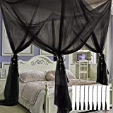 VISATOR Mosquito Net Bed Canopy,4 Corner Post Canopy Bed Curtains with 8 Hanging Hook,30ft Hanging Tether,4 Tassel Hanging Pendants and Storage Bag,Canopy Bed for Full/Queen/King Size (Black)