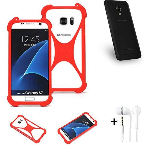K-S-Trade® Handyhülle + Kopfhörer Für UMIDIGI C2 Schutzhülle Bumper Silikon Schutz Hülle Cover Case Silikoncase Silikonbumper TPU Softcase Smartphone, Rot (1x),