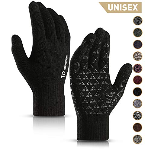 Image of TRENDOUX Winter Gloves, Knit Touch Screen Glove Men Women Texting Smartphone Driving - Anti-Slip - Elastic Cuff - Thermal Soft Wool Lining - Hands Warm in Cold Weather - Black - M