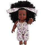 12 Pouces Fille Poupée de Simulation, BZLine Enfant Fausse poupée simulée Poupée Noire Mignon Réaliste Jouet de poupée Africaine Fille Poupée Cadeau (Rose)