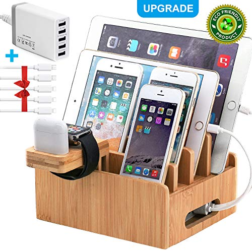 Bamboo Charging Station for Multiple Devices with 5 Port USB Charger , 5 Charger Cables ,Watch and Airpod Stand. Pezin & Hulin Desk Wood Docking Stations Electronic Organizer for Cell Phone, Tablet, Watch,Airpod