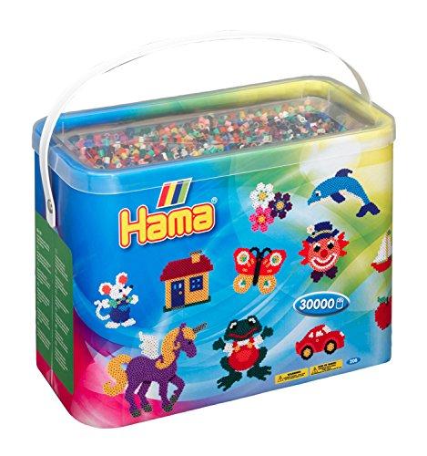 Hama Perlen 208-67 Bügelperlen im Eimer mit ca. 30.000 bunten Midi Bastelperlen mit Durchmesser 5 mm im Grundfarben Mix, kreativer Bastelspaß für Groß und Klein