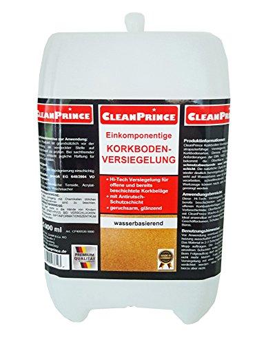 CleanPrince 5 Liter Kork Versiegelung Korkboden 5.000 ml einkomponentige Korkversiegelung glänzend Korkoberflächen Korksiegel NEU: Anti-Rutsch-Schutzschicht, geruchsarm, wasserbasierend