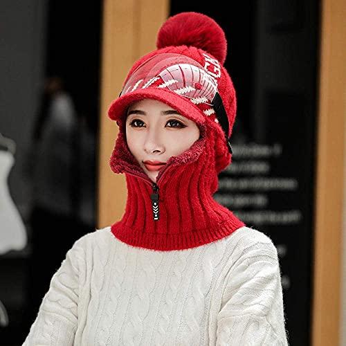 ASDWA Gorro cálido para mujer, de terciopelo grueso, cálido, resistente al viento, protección de los oídos, gorro de ciclismo de punto, gorro de una pieza, color beige y gafas