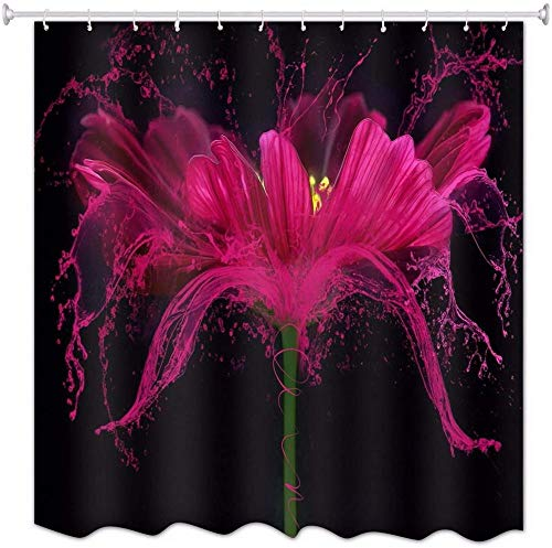 Cortina de Ducha Impermeable Anti Moho Tela Lavable Flor Ros