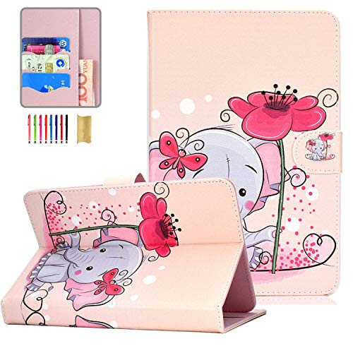 """Universal Case for 9.5-10.5 inch Tablet, APOLL PU Leather Stand Wallet Pocket Slimshell Case for New iPad 10.2/ HD 10 2019/ Mediapad 9.6"""" 9.7"""" 10.1"""" and More 10 inch Tablet, Cute Elephant"""