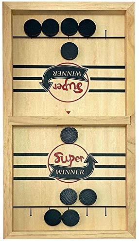 Sucastle Smartrich Schnell Slingpuck Brettspiel Holz Sling Puck Spiel Multi Tabletop Indoor Tragbare Brettspiele for Kinder & Familie