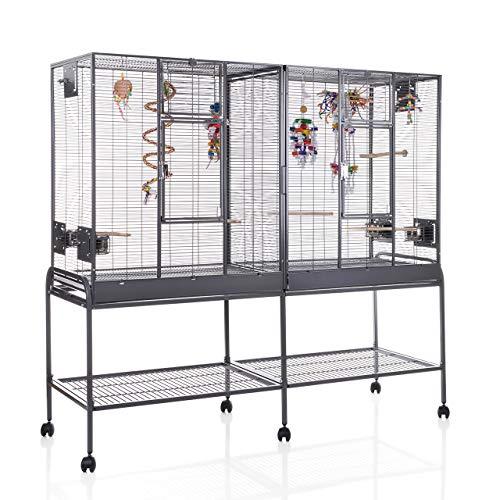 Montana Cages ® | Zimmervoliere, Käfig, Vogelkäfig New Madeira Double mit waagerechter Verdrahtung mit Anflugklappe FRACHTFREI