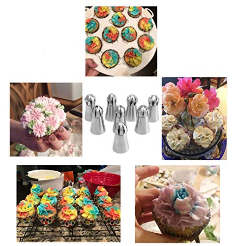 Fashionclubs Russian Piping Tips 8pcs Icing Piping Nozzles Tips Flower Cake Cupcake Decoration Tips Stainless Steel Russian Sphere Ball Tips Baking Supplies for Any Pastry