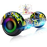UNI-SUN Hoverboard for Kids, 6.5' Two Wheel Self Balancing Hoverboards with Bluetooth and Lights, Graffiti Hover Board