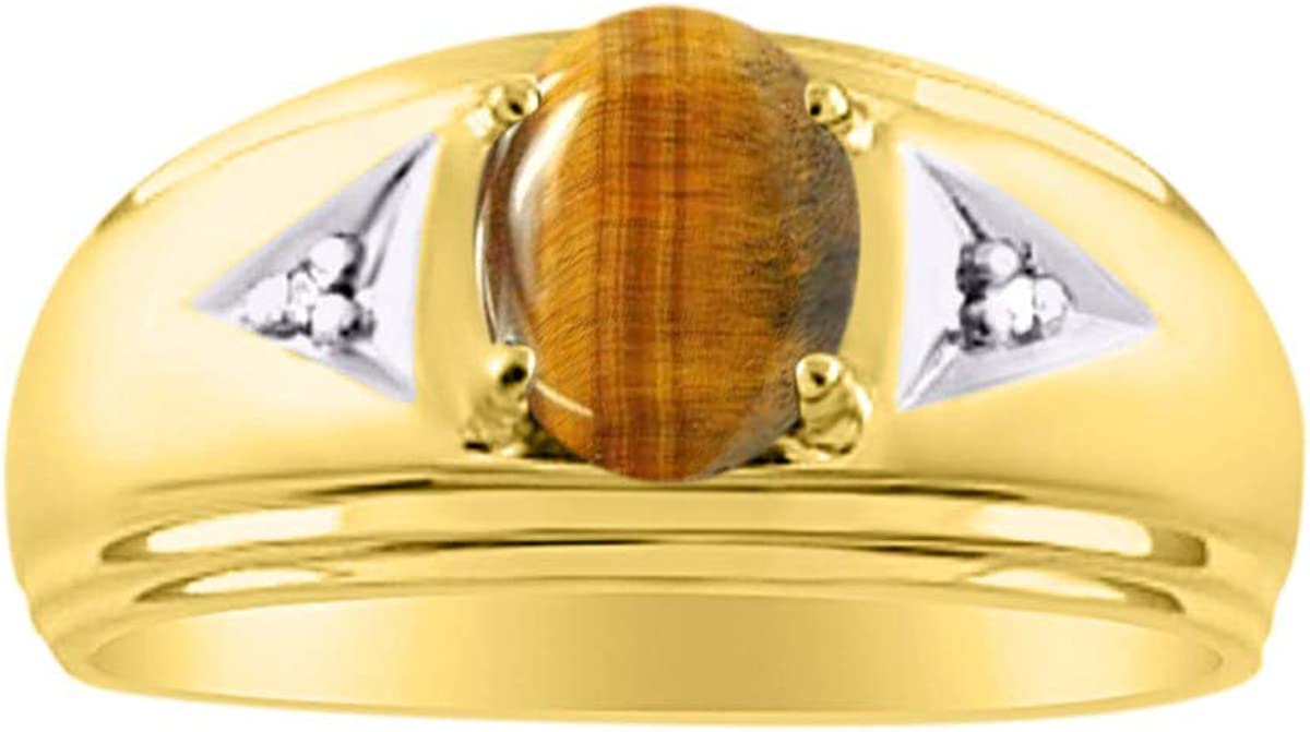 RYLOS Mens Rings Yellow Ranking TOP6 Gold Plated NEW before selling Oval 8X6MM Classic Silver Ge