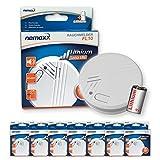 7X Nemaxx FL10 Detector de Humo con batería de Litio de 10 años, Alarma de Seguridad contra Incendios - de Acuerdo a la Norma DIN EN 14604