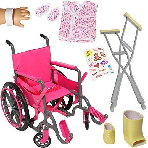 The New York Doll Collection Puppe Rollstuhl-Set für 18 Zoll/46cm Puppen enthält Bein gegossen, poor gegossen, Verband Krücken und Rollstuhl + Bonuszubehör - Puppen spielset - Puppenzubehör