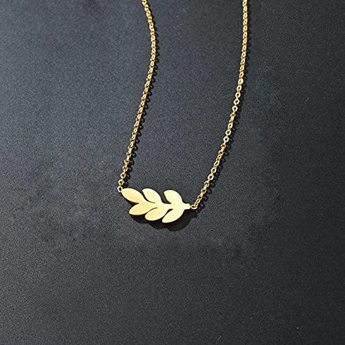 Collar Colorfast Titanium Steel One Leaf Rich Lucky Light Lujo Mujer Collar Simple Clavícula Cadena Temperamento Personalizado Colgante Hojas Dorado