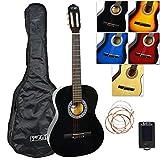 3Rd Avenue Paquete de Guitarra Clásica con Estuche, Afinador y Cuerdas de Repuesto, Negro, Tamaño Completo 4/4