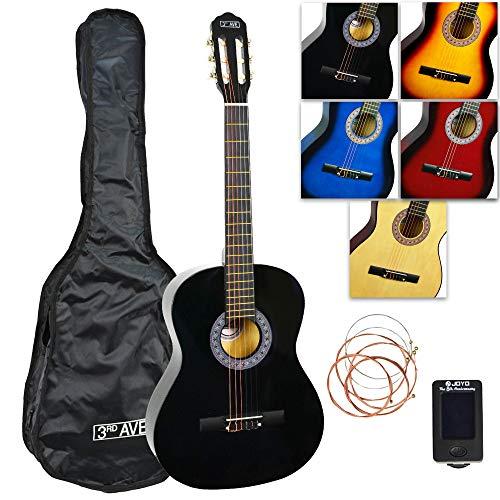 3rd Avenue Konzertgitarren-Set in Normalgröße mit Nylonsaiten, mit Tasche, Saiten und Stimmgerät – Schwarz