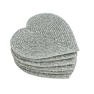 Shalinindia Handmade Beaded Heart Coaster Set - 6 Silver, 4 Inch Coasters - Heat-Resistant Polyester Backing & Genuine Glass Beads (B01AJJXADU) | Amazon price tracker / tracking, Amazon price history charts, Amazon price watches, Amazon price drop alerts