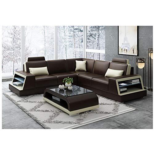 Winpavo Sofas & Sofas Sofa Corner Sofa Set Braunes Ledersofa Modernes Sofa Mit Bluetooth-Musik-Player USB-Aufladung-D.