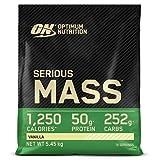 Optimum Nutrition ON Serious Mass Proteina en Polvo Mass Gainer Alto en Proteína, con Vitaminas, Creatina y Glutamina, Vainilla, 16 Porciones, 5.45kg, Embalaje Puede Variar
