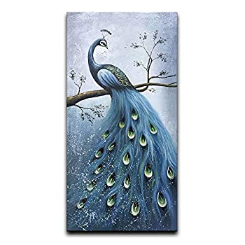 Desihum-Blue Peacock Vertical Wall Art Hand Painted Oil Painting On Canvas Wood Inside Framed Artwork Hanging Decoration for Living Room 24 x36