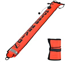 Aosiyp 4ft Diving Surface Marker with High Visibility Reflective Band Inflatable Scuba Diving SMB Surface Signal Marker Buoy Accessory Diving Safety Gear