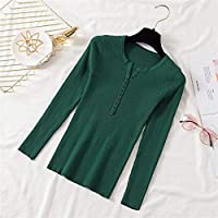 2021春と秋のユニバーサルファッションセクシー 2020秋冬ボタンVネックセーター女性基本スリムプルオーバー女性セーターとプルオーバーニットジャンパーレディーストップス オールマッチ婦人服の様々な種類 (Color : Green, Size : One Size)