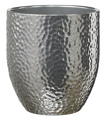 Soendgen Keramik Orchideenvase, Boston Metallic, silber, 13 x 13 x 14 cm, 0120/0014/1874