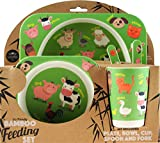 The Leonardo Collection Childs Bamboo Eco-Friendly Farm Animals Dinner Meal Set Plate Bowl Fork & Spoon