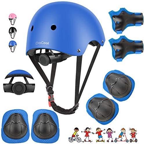 DaCool Kids Bike Helmet Skateboard Knee Pads - Toddler Helmet Adjustable for 3~8yrs Girls Boys Child Kids Protective Gear Set for Sport Cycling Bike Roller Skating Scooter Rollerblade, Blue