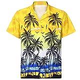 Men Hawaiian Shirt Short Sleeve Front-Pocket Beach Floral Printed Tee Top