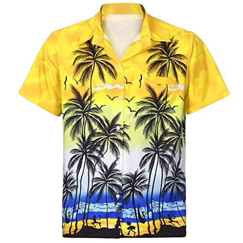 Writtian Funky Hawaiihemd Herren Kurzarm Front-Tasche Hawaii-Print Strand Palmen Meer Kurzarmshirt Freizeithemd