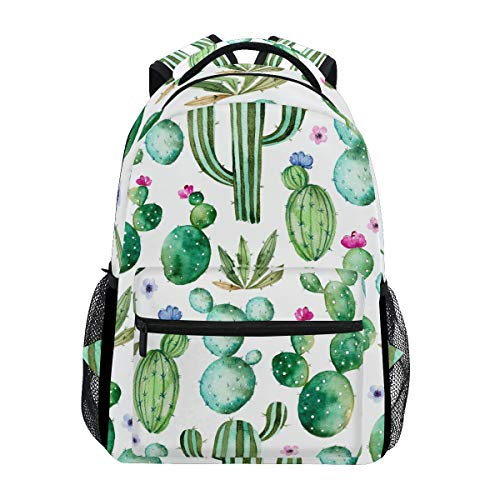 Wamika Watercolor Cactus Backpacks for Girls Kids Boys Tropical Desert Plant Cacti School Book Bags Waterproof Student Laptop Backpack College Carrying Bag Casual Lightweight Travel Sports Day packs