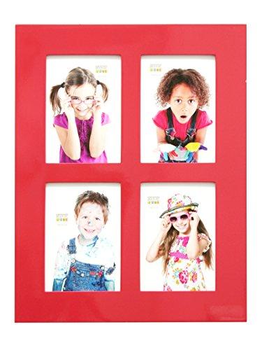Deknudt Frames S66WK4 fotolijsten 13x18 fotolijst hoogglans rood, voor 4 foto's houten fotolijst
