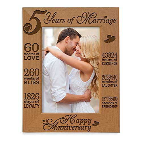 KATE POSH - 5 Years of Marriage Photo Frame - Happy 5th Wood - Engraved Natural Solid Wood Picture Frame (5x7-Vertical)