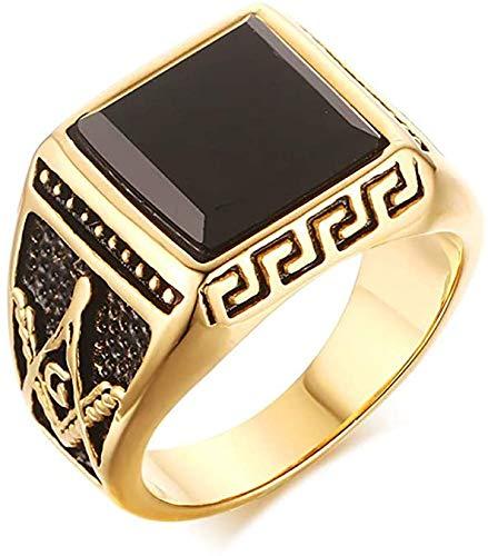 Los Hombres de joyería de Oro Chapado de Acero Inoxidable 316 Negro ágata masónico del Freemason Banda Anillo de Sello,15