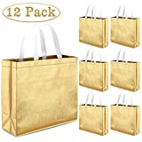 Whaline Set of 12 Glossy Reusable Grocery Bag, Tote Bag with Handle, Non-woven Stylish Present Bag, Gift Bag, Goodies Bag, Shopping Promotional Bag, for Christmas Party, Event, Birthday (Gold)