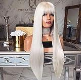 MADONG La signora 2019 nuova parrucca della fibra di platino capelli lisci capelli lunghi frangia aeree americane europeo e del anime del Cos acconciatura (Color : White gold)
